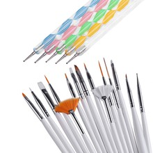 20pcs Nail Art Design Set Dotting Painting Drawing Polish Brush Pen Tools Nail Brushes for UV Nail Gel Polish Draw Tools