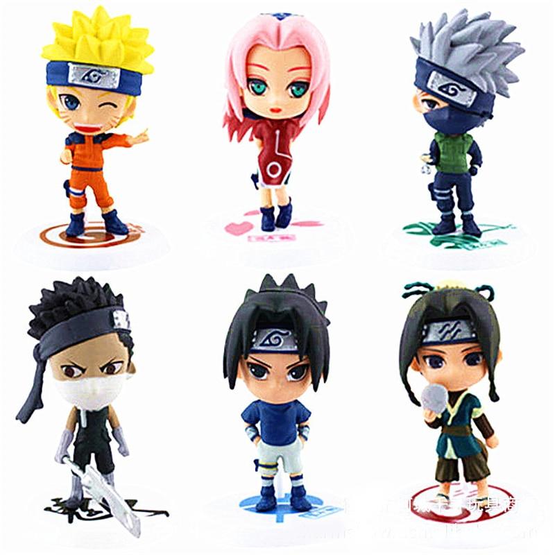 6Pcs/set Anime Naruto Cartoon Q Version Naruto Kakashi Sakura Sasuke  PVC Model Toys Action Figure For Kids Collectible Toy Doll<br><br>Aliexpress