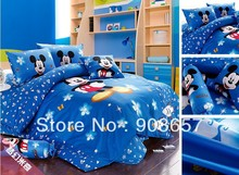 twin full queen king duvet covers cotton bedding set blue mickey mouse flower printed boys children's girls bed linens 3pcs 4pcs
