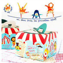 10pcs/lot Cookie Package Circus Troup Carnival Decoration Cake Box Clown Series Dessert Cookie Packing Box Candy Biscuit Box
