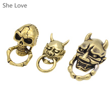 She Love Brass Leathercraft Concho Skull Rivet Stud Punk Screw Back Antique Decorated Concho DIY Wallet Bag Decor
