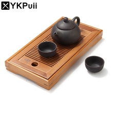 Elegant Chinese Bamboo Tray Classic Kung Fu Tea Set Table Serving Tray Small Natural Traditional For Teapot Storage