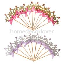 10pcs/set Pretty Princess Crown Cake Topper Food Picks with Ribbon Wedding Birthday Baby Shower Decoration