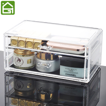 Transparent Acrylic Makeup Jewelry Storage Drawers 2 Large Cosmetics & Accessories Chest of Drawer Jewelry Caskets Acrylic Box(China)