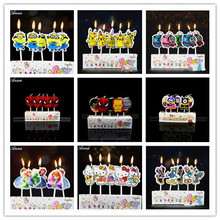 Hot selling! Birthday Cake Toppers Spiderman Mario Thomas Mickey/Minnie Mouse Minions Avengers Princess Candles Party Supplies(China)