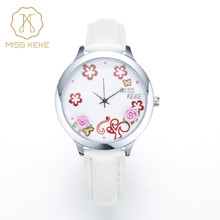 MISS KEKE Ladies Watch 3D Clay Flowers Lovely Floral Watches Simple White Women Watch Quartz Clock Women Fashion Wristwatches