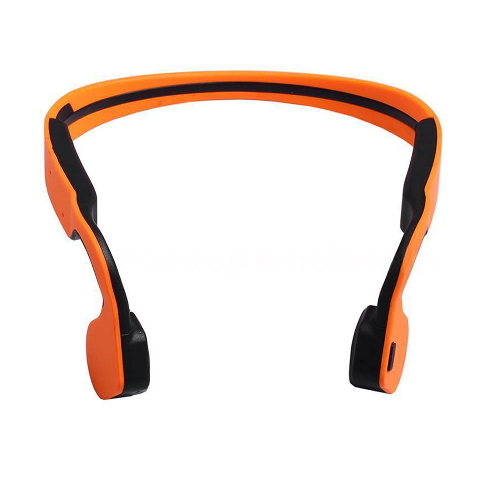 Wireless Bluetooth Bone Conduction Stereo Headset Waterproof with Mic Headphone Color:Orange<br>