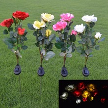Solar Powered LED Light Rose Flower Lamp for Yard Garden Path Way Landscape Decorative Night Lamp Outdoor Holiday Lighting 1pcs(China)