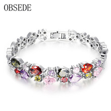 OBSEDE Fashion Women Jewelry Charm Bracelet Colored Heart Cubic Zirconia Bracelets Stainless Steel Bangles with Crystal Silver(China)