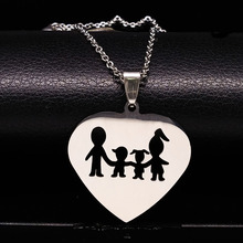 2017 Love Family Stainless Steel Necklaces Women Accessories Fashion Mom and Dad Daughter Son Necklace Jewelery N2102B