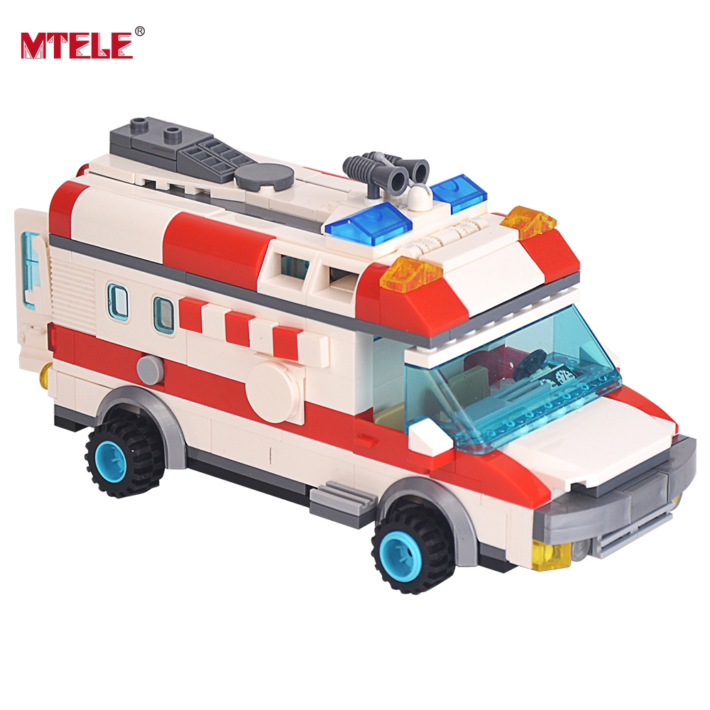 MTELE Brand 328 Emergency Ambulance Model Building Blocks Brick Kid Toys High Quality Gift Compatible with Lego<br>