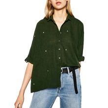 Women star embroidery loose shirts half sleeve turn down collar elegant blouse ladies casual office wear tops blusas LT1166