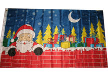 free shipping 3x5 Merry Christmas Santa Claus Chimney Flag 3'x5' House Banner