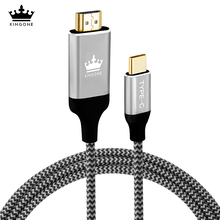 Kingone USB C HDMI Cable 4K 60HZ 1.8M Type c Male To HDMI Adapter For Macbook Samsung S8 Huawei Mate 10 Pro Thunderbolt 3 Cable(China)