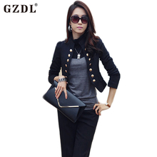 GZDL Spring Autumn Women Double Breasted Jacket Long Sleeve Button Slim Fitted Short Top Casual Cardigan Coat Outerwear CL1076
