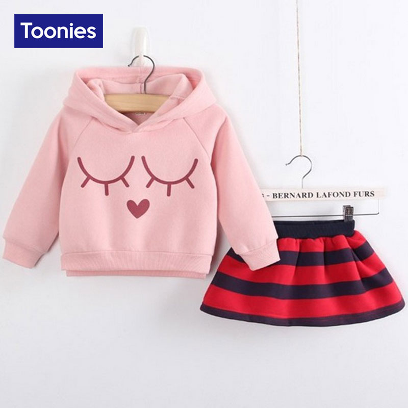 2015 New Autumn Winter Girls Warm Hooded Sets Clothing Long Sleeve Pullover Hoody+Skirt Suit Sets Girls Casual Sets 5 Color<br><br>Aliexpress
