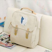 2018 Canvas Preppy Style Backpack Hot Anime Attack Titan Women Mochila Backpacks Student School Bags Teenagers Girls