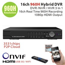 16channel Full 960H D1 Real time Recording playback 16ch Hybrid dvr NVR for 1080P security ip camera CCTV DVR Recorder 3531chips