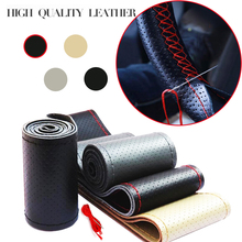 DIY Steering Wheel Cover Genuine soft Braid Leather Car of auto steering wheel cover With Needle and Thread car styling(China)
