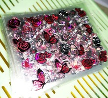 30Sheets Top Quality 3D Adhesive Silver-Pink Colors Nail Art Nails Stickers Adhesive Transfer 3D Butterfly Rose Decals(China)