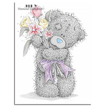 Cross stitch kits of diamonds cartoon bear Diamond embroidery toy bear with flower Sketch picture of rhinestones handmade craft