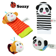 BSOZZY baby animal wrist watch with lace socks with bell rings maracas sozzy obal playgro bibi taggies mobile bebe waldorf