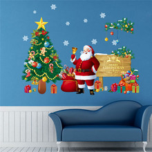 Christmas Decoration Store Showcase Glass Sticker Santa Claus Christmas Tree Pattern Removable Carved Decal Window Wall Stickers(China)