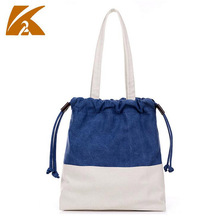 KVKY Women's Navy Patchwork Canvas Shoulder Bag Designer Lady Casual Drawstring Travel Tote Handbag Bolsos Mujer Bucket Bag B476