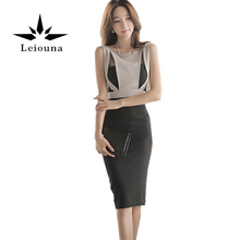 Buy Leiouna 2017 Hot Summer Maxi Elegant Women Work Wear Slim OL Office Pencil Knee Dresses Lady Sleeveless Sexy Dress Vestidos for $21.42 in AliExpress store