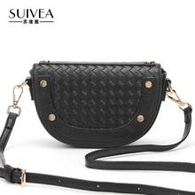 SUIVEA Brand Saddle Women Handbags Bag Ladies Style Weave Craft Small Bags Fashion Rivet Crossbody Travel Design For Female 2017(China)