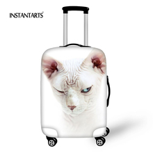 INSTANTARTS Kawaii Animal Printed Luggage Thicker Covers for 18-30 Inch Suitcase Canadian Hairless Cat Elastic Dust Rain Cover(China)