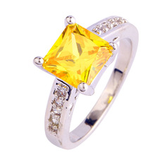 lingmei Pretty Style Fashion Women Jewelry Citrine Silver Color  Ring Size 7 8 9 10 Free Ship Wholesale 421R4
