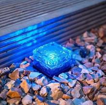 LumiParty Fashion LED Solar Path Ice Cube Rocks Waterproof Frosted Glass Brick Paver Garden In-groud Buried Light Path Road