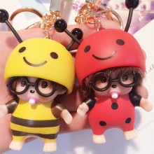 5pcs/lot New Cute Bee Monchichi Key Ring Toys Doll Monkiki Bag Car Charm Key Chain Keychain Kiki Children Novetly Gift  M144