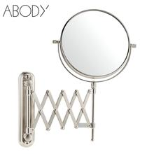 Dual Side Wall Mounted Bathroom Makeup Mirrors 8 Inch 7X Magnification Stretchable Rotatable Hotel Hanging Cosmetic Mirror Tool