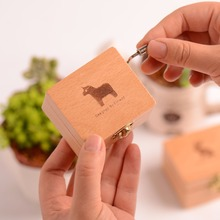Hand Crank Cartoon Animal Engraved Wooden Box play Music Toy Collection Gift For fans Unique Decorate Kids Gift(China)