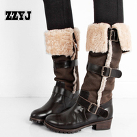 ZZYJ leather + real fur snow boots Ms. Autumn new retro buckle ladies riding boots Female winter Big size warm shoes wholesale
