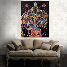 Fashion Tapestry Indian Elephant Mandala Hippie Wall Hanging Tapestry Gypsy Bedspread Tree Printed Decorative Towel 145x145cm