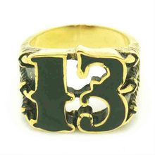 Mens 316L Stainless Steel Cool Golden Ghost Claw Lucky Number 13 Newest Ring(China)