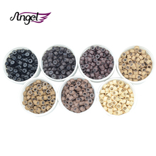 Angels 1000pcs 4.5*2.5*3.0mm Silicone Lined Microlink Micro Hair Beads for Dreadlocks Feather Human Hair Extensions Hair Tools(China)
