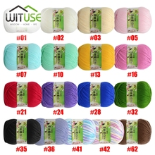 Wholesale 4 balls/lot 200g natural soft cotton yarn thick yarn 17 colors wholesale thread knitted for Baby Hat crochet Quality(China)