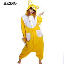 HKSNG новый желтый оранжевый лиса пижамы животных мультфильм зима унисекс  комбинезон для вечеринки взрослых Kigurumi косплэй 5f09d2c2aef48