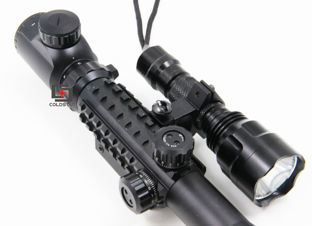 Arms Rifle Combo 3-9x40EG Rifle Scope w/ CREE T6 LED Flashlight 5-Mode C8 Torch Pistol Flash Light For Guns and weapons<br><br>Aliexpress