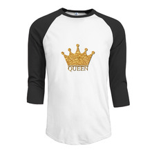 King and Queen Couple tee shirt 3/4 Sleeve Raglan design Summer Casual young men(China)
