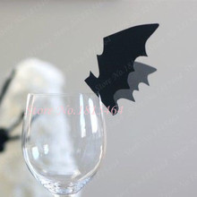 50pcs Halloween Bat Wine Glass Place Name Cards Markers Party Table Invitation Cards Halloween Event Decoration Supplies(China)