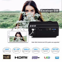 Excelvan E08 2500 Lumen LCD Projector Home Cinema 1080P Support Multi-screen Interaction Via Data Cable For Smartphone PK X7