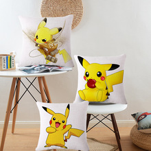 Cartoon Vintage Home Decor Pokemon Pikachu Cotton Linen Decorative Pillows Throw Case Cushion Cover Car Sofa Seat - KYYZROZZZ VX Store store