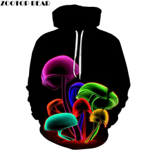 Novelty Sweatshirts Women Mushroom Printed Pocket Hoodies Fashion Coats 3d Men Pullover Casual Streetwear Female Tracksuits(China)