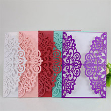 10pc/lot European Style Rectangle Hollow Love Flowers Laser Cut Wedding Invitations Engagement Wedding Party Invitation Cards