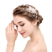 Wedding Hair Accessories For Bride Vintage Gold Tiara Crystal Inlay Pearl Hair Decoration Floral Hairband Women Hair Jewelry